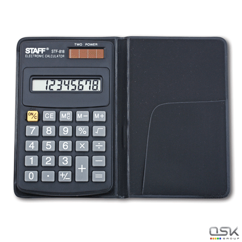 Калькулятор карманный STAFF STF-818 (102х62мм), 8 разрядов, двойное питание, 250142